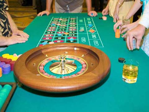 Casino night roulette tables